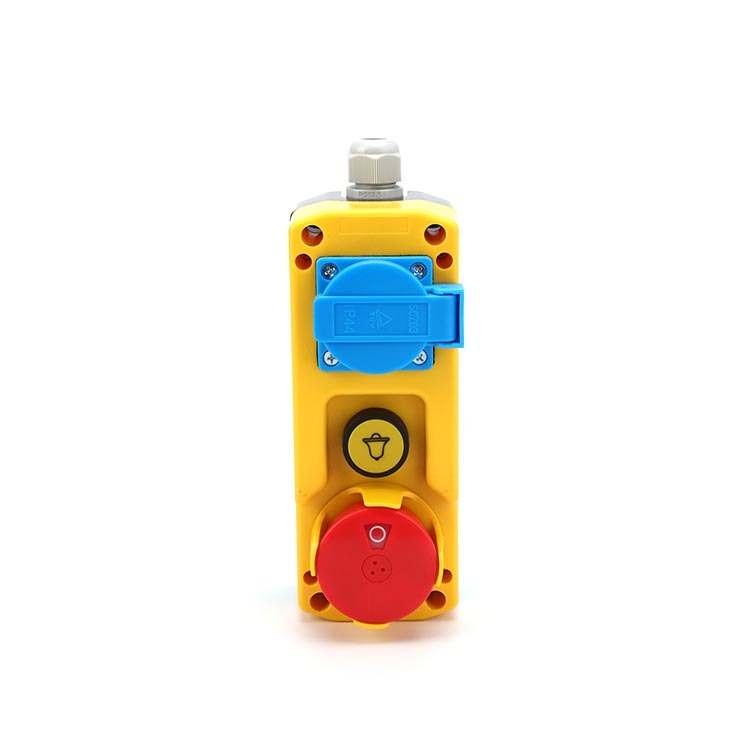 Control box E-stop buttons remote control switch with european socket 3 holes push-pull XDL85-JB381P