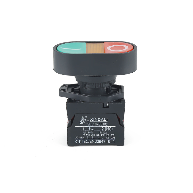 waterproof IP65 double head push button switch 12v with led indicator XDL21-EBW8365