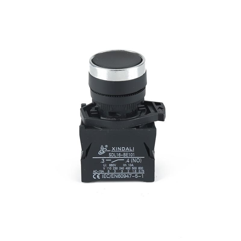 waterproof 22mm black spring return flush push button switch ip65 button XDL21-CA21