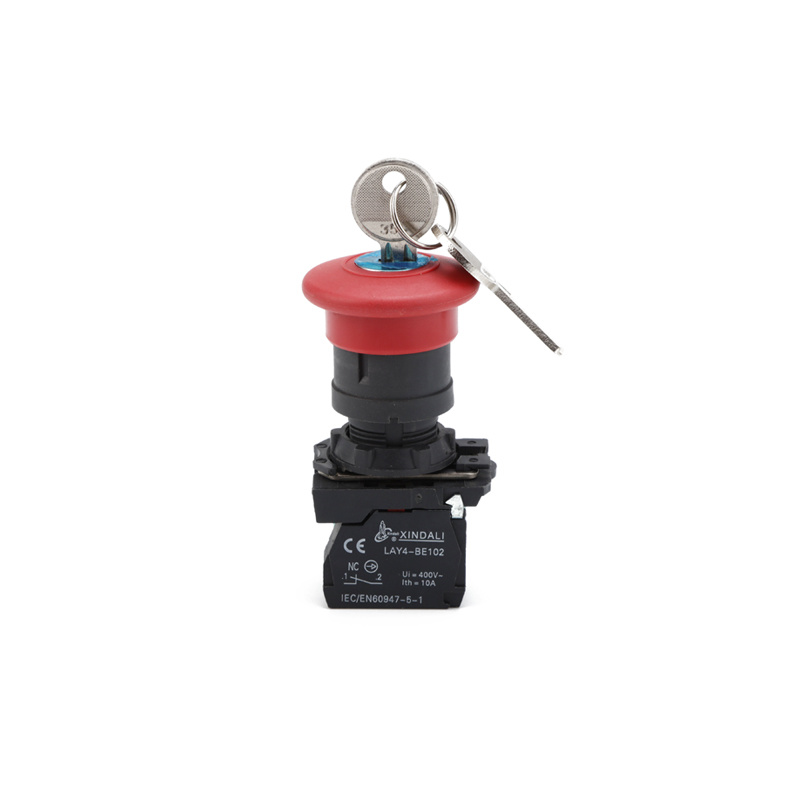 emergency push button switch with key emergency button with lock LAY4-ES142