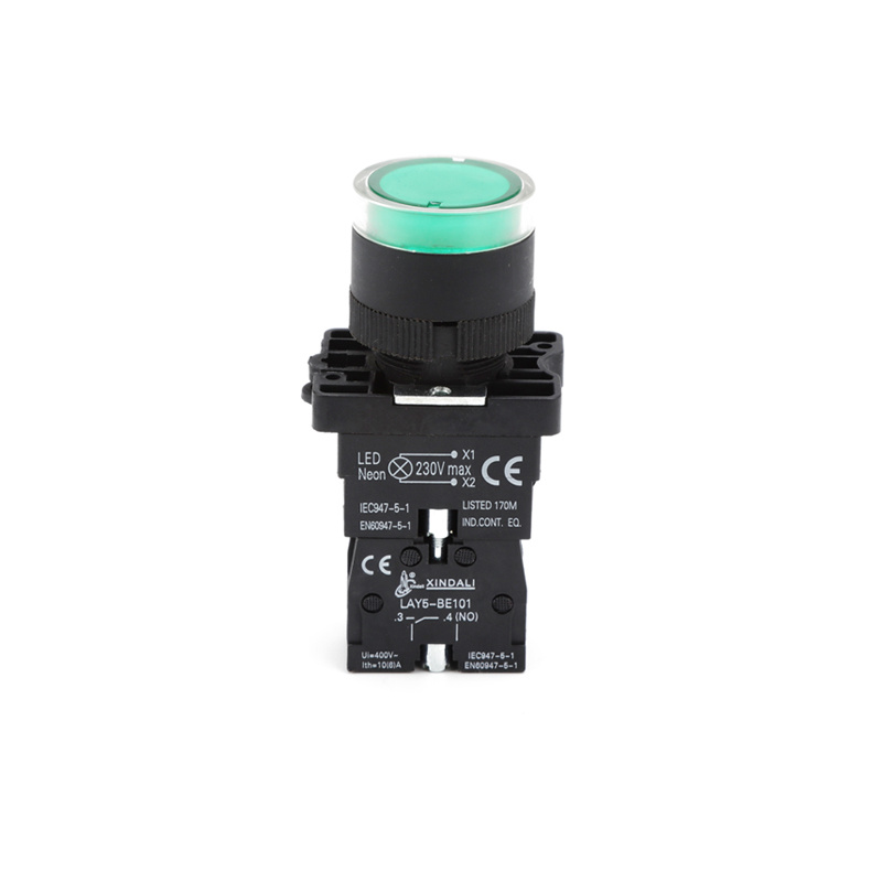 Push button light switch led push button switch green 220v LYA5-EW3361