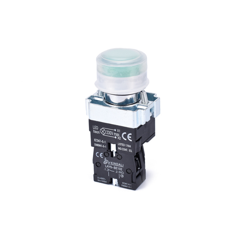 light switch with neon indicator rubber push button switch LAY5-BPW3361