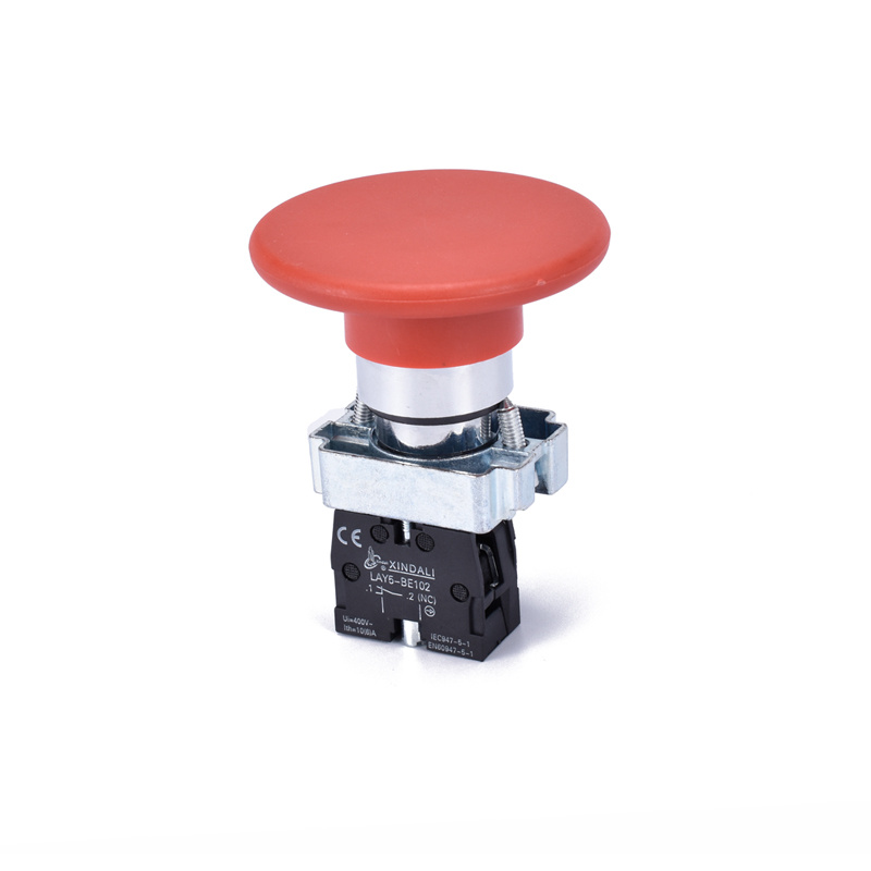 metal 60mm big red mushroom head push button switch LAY5-BR42