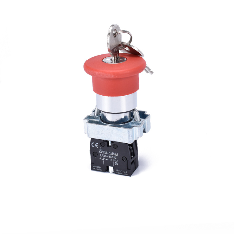 metal emergency stop push button switch with key LAY5-BS142