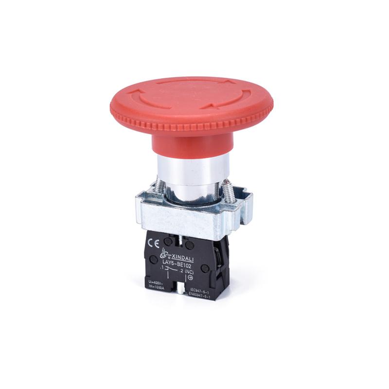 60mm emergency stop push button switch big mushroom push button LAY5-BS642