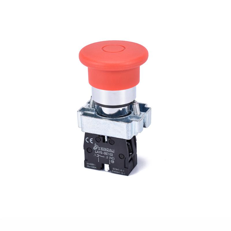 40mm 220V mushroom head push-pull emergency button switch LAY5-BT42