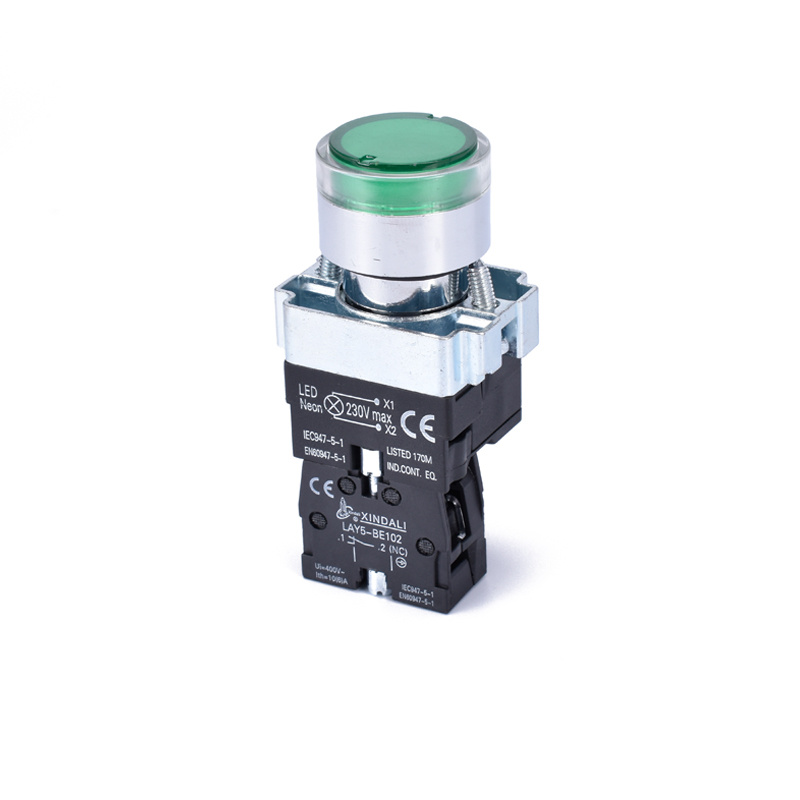electric switch with led button light 12v work light push switch LAY5-BW3361