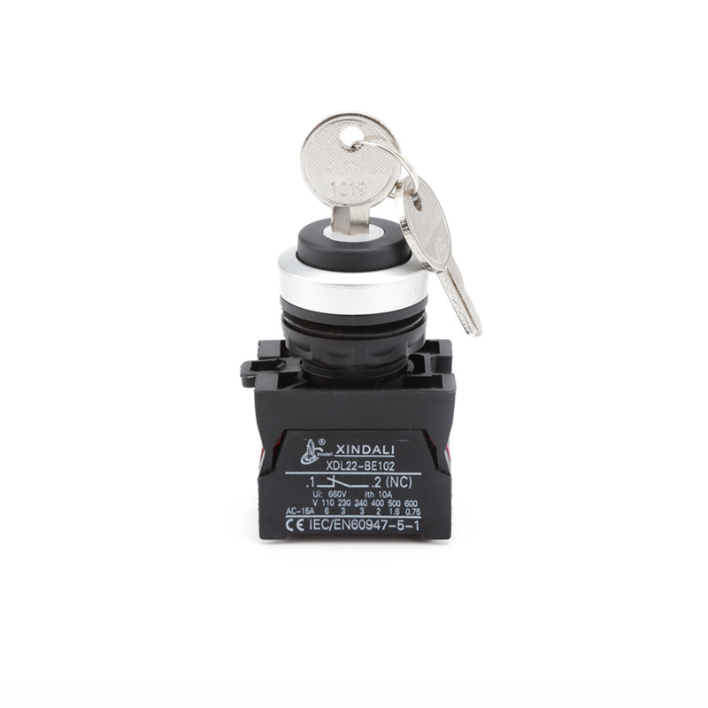 Waterproof IP67 key selector plastic electrical Push Button Switch with Key XDL22-CG35