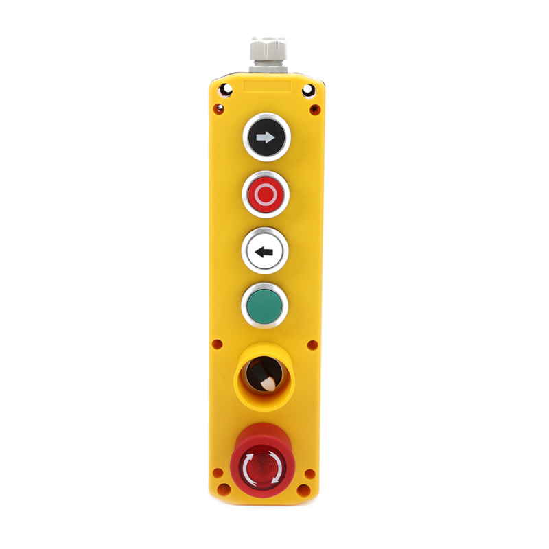 XDL722-JBW624P ip67 plastic switch 6 holes electric hoist control box with light emergency stop