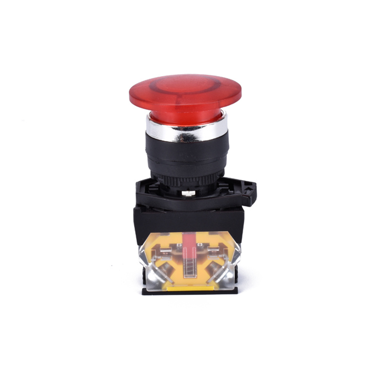 22mm mushroom head spring return push button switch with light XDL31-CWC42