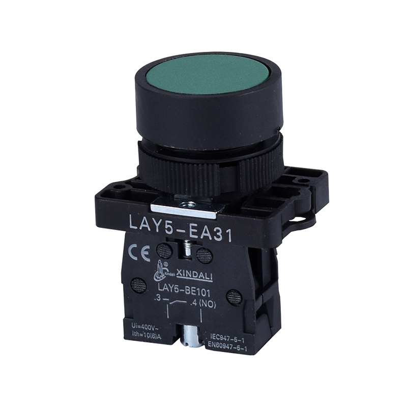 plastic green flush button switch with self reset spring return pushbutton LAY5-EA31