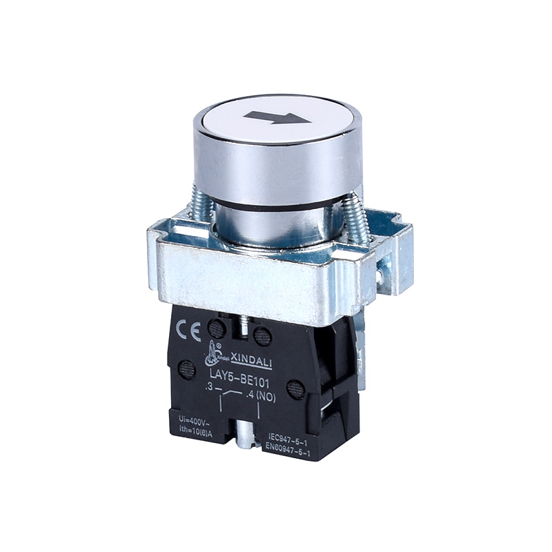 metal flush spring return white pushbutton switch with marked LAY5-BA3341