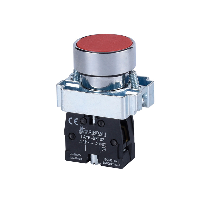 industrial flush spring return electrical push button switch LAY5-BA42