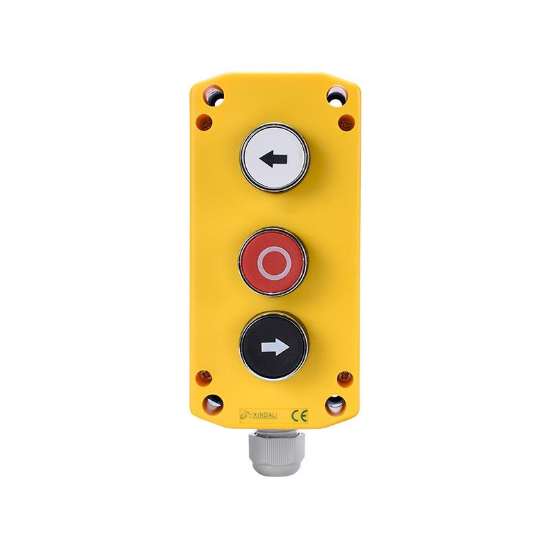 3 holes plastic flush waterproof push button yellow crane control box XDL721-JB324P