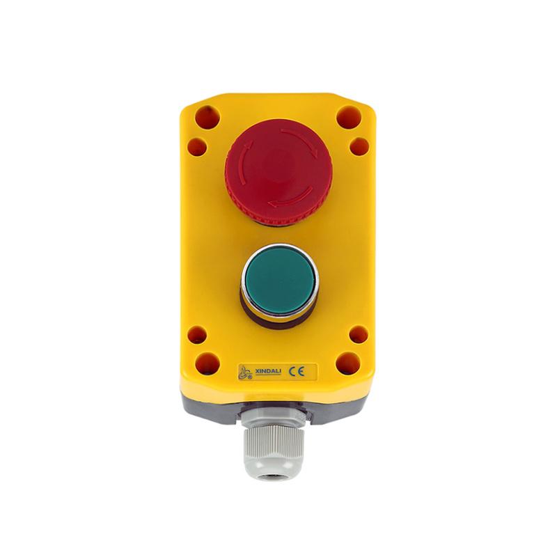 2 holes push button switch control box red mushroom head push button boxXDL75-JB261P