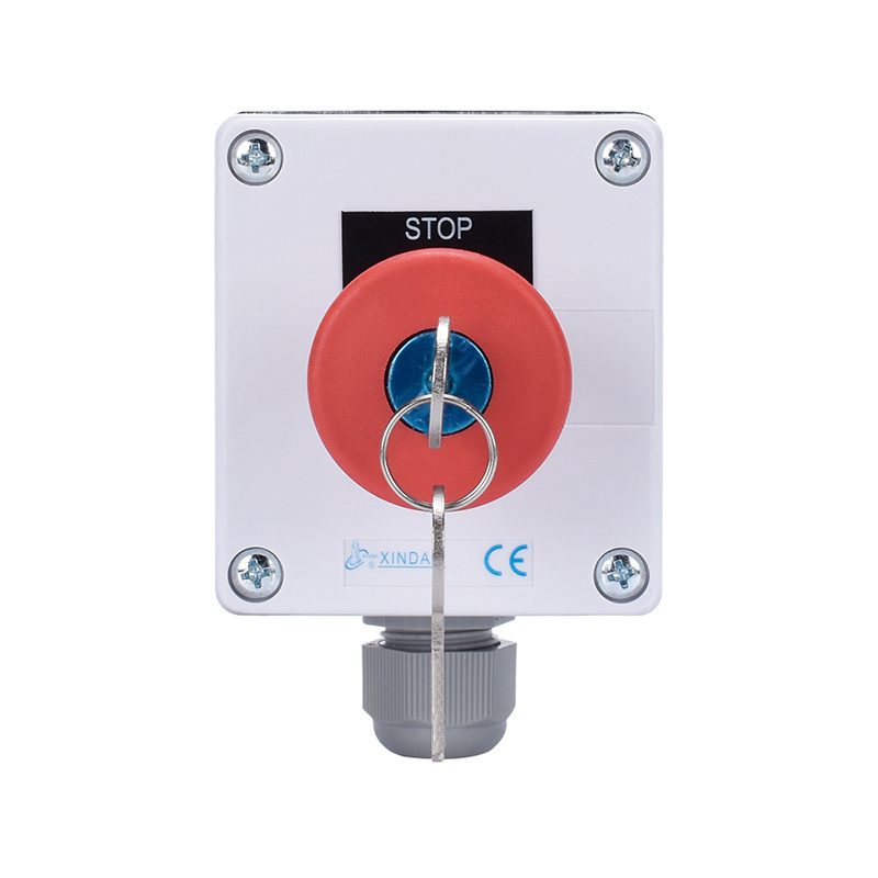 Metal Mushroom Emergency Stop Push Button Switch Box with Mechanical Key XDL55-BB188PH29