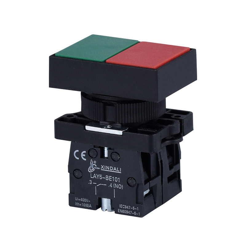 double and 1 flush green push button 1 flush red push button switch LAY5-EL8325