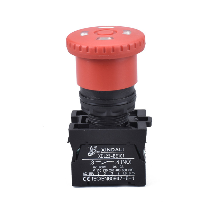 waterproof ip67 mushroom head emergency stop push button switch with window XDL22-ETB542
