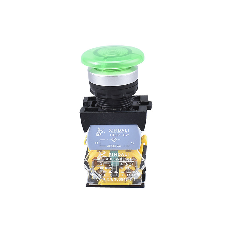 green led indicator light mushroom push button switch with lamp XDL32-CWC31