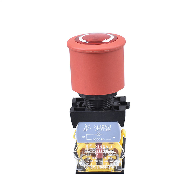 22mm mushroom estop emergency stop button switch with led XDL32-ESW542