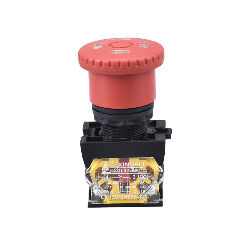 ip68 waterproof emergency stop pushbutton switches with windows XDL32-ETB542