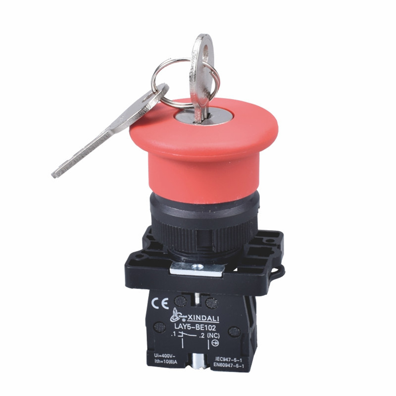 plastic emergency stop push button switch with key LAY5-ES142