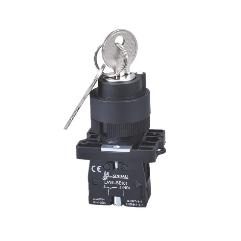 22mm plastic lay5 lock key push button switch with key LAY5-EG21