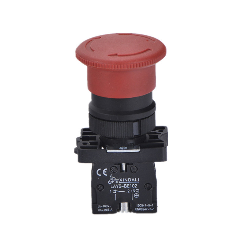 emergency stop 40mm turn to release mushroom push button switch LAY5-ES542