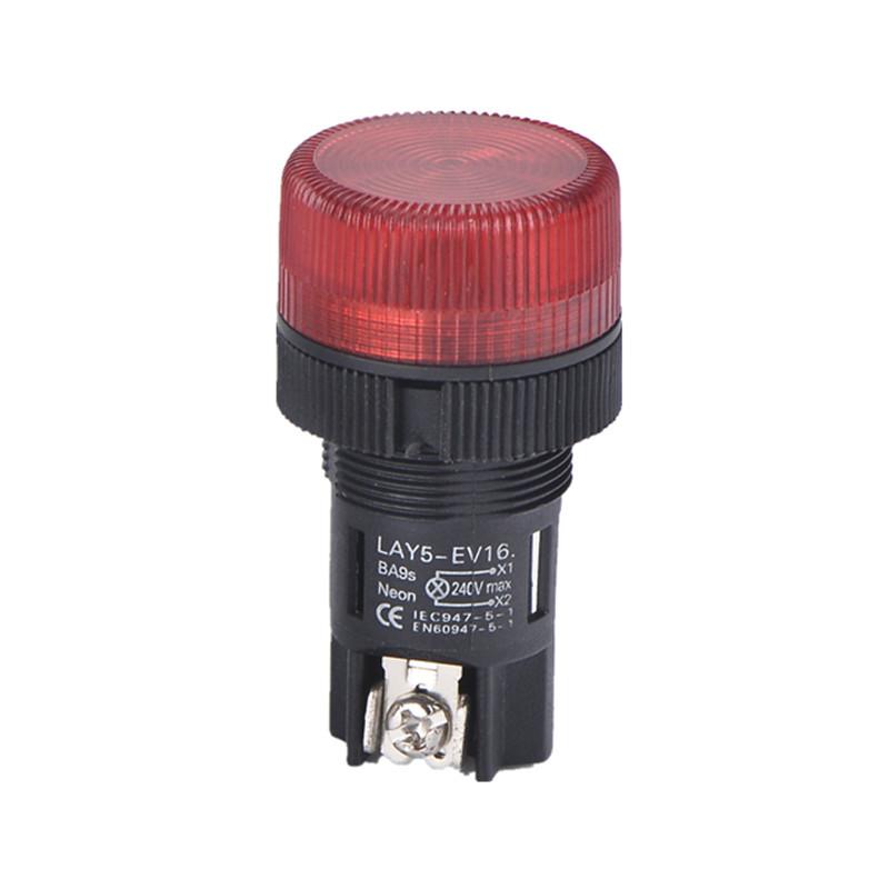 Cambio de indicador de pulsador de pulsador de lámpara de neón de 22 mm Lay5-EV444