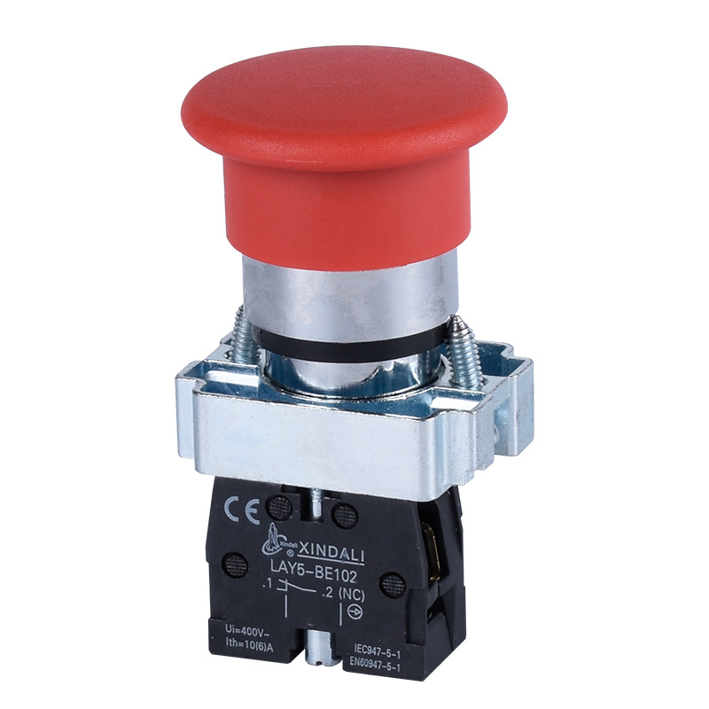 electrical mushroom head 40mm red stop emergency push button LAY5-BC42