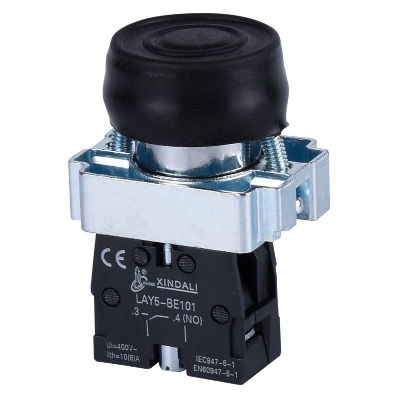 rubber cap metal black industrial flush waterproof push button switch LAY5-BP21