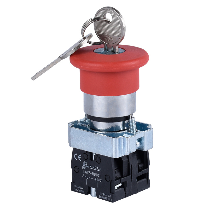 metal 22mm no+ nc emergency stop push button switch with key LAY5-BS145